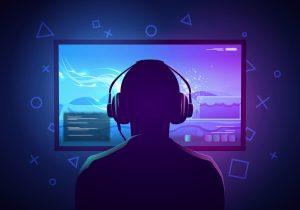 Tecknad figur med gaming hörlurar på huvudet